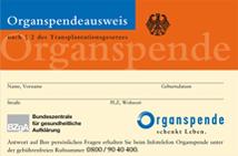 Organspendeausweis, Vorderseite (Quelle: organspende-info.de)