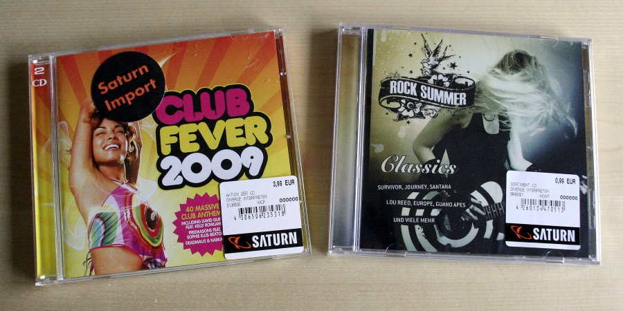 """CD-Cover: """"Club Fever 2009"""" (Doppel-CD), """"Rock Summer Classics"""""""