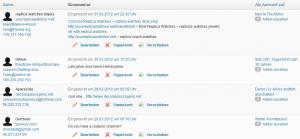 Bildschirmfoto der von mir als Spam aussortierten Kommentare im Admin-Bereich
