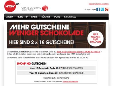 """""""Mehr Gutscheine, weniger Schokolade – hier sind 2× 1€ Gutscheine!"""""""