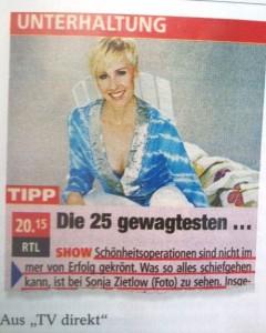 """""""TV Tipp: Die 25 gewagtesten … (Show) – Schönheitsoperationen sind nicht immer von Erfolg gekrönt. Was so alles schiefgehen kann, ist bei Sonja Zietlow (Foto) zu sehen."""""""
