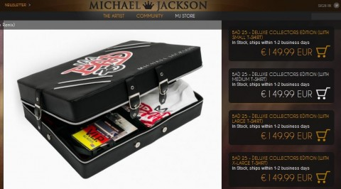 Screenshot vom MichaelJackson.com-Shop