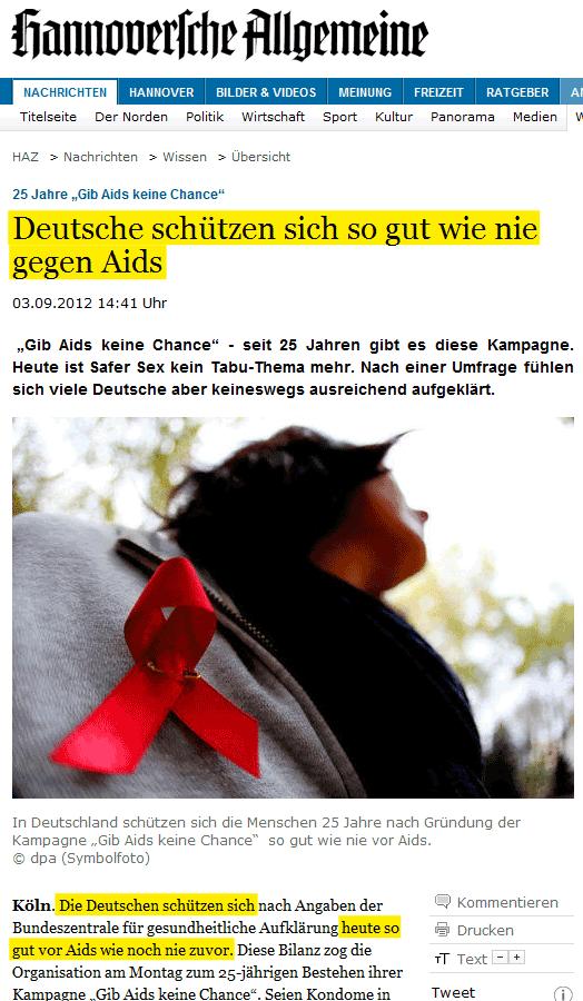 """Screenshot von haz.de: """"Deutsche schützen sich so gut wie nie gegen Aids"""""""