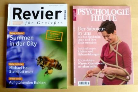 """""""Revier für Genießer"""" Sommer 2013 und """"Psyhologie heute"""" 7/2013"""