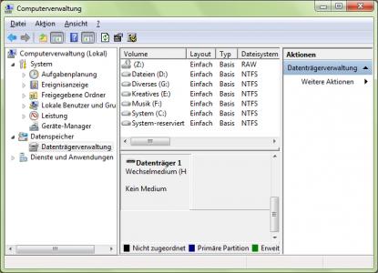 """Kein Medium"" (Windows-Datenträgerverwaltung Screenshot)"