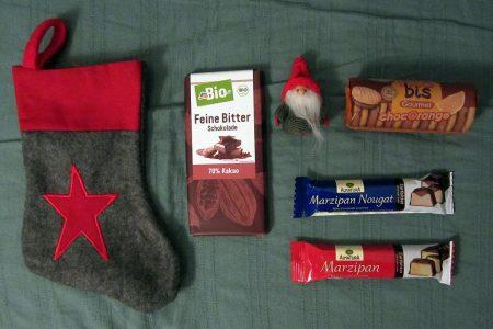 dmBio Schokolade, Wichtel, BioBis Doppelkekse, Marzipan, Nugat